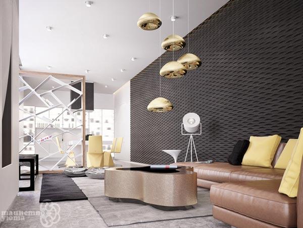 декоративные 3d панели в гостиной