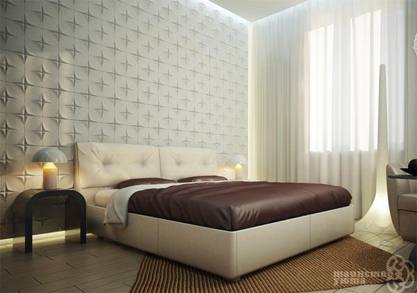 3d панели в изголовье кровати фото