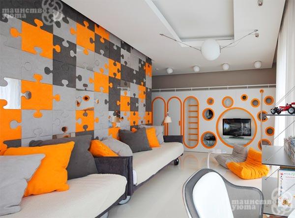 фото оранжевый + серый в интерьере
