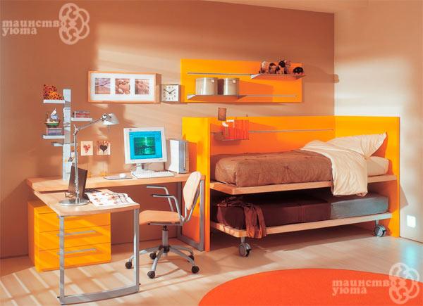 Оранжевые тона в детской комнате