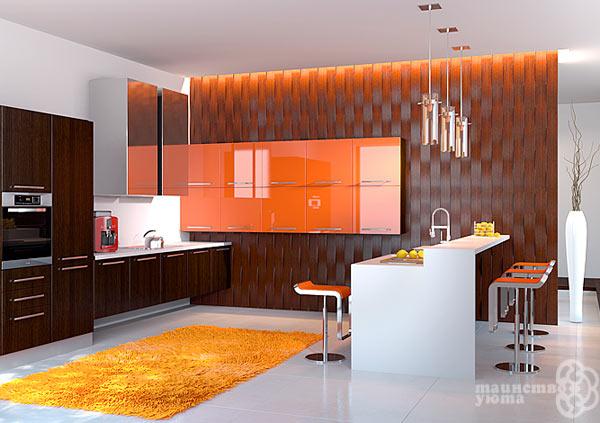 сочетание оранжевого и шоколадного в интерьере