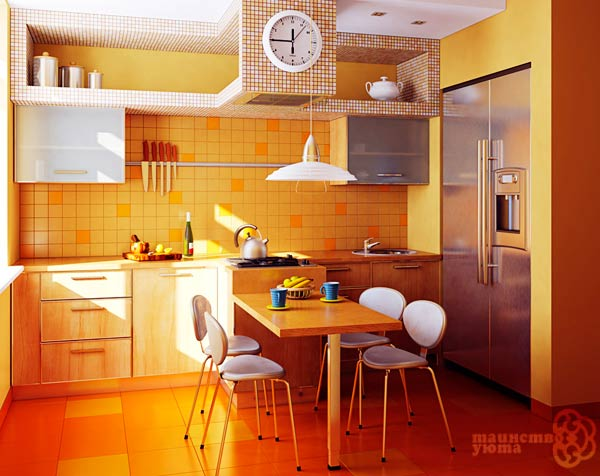 кухна в оранжевых тонах фото