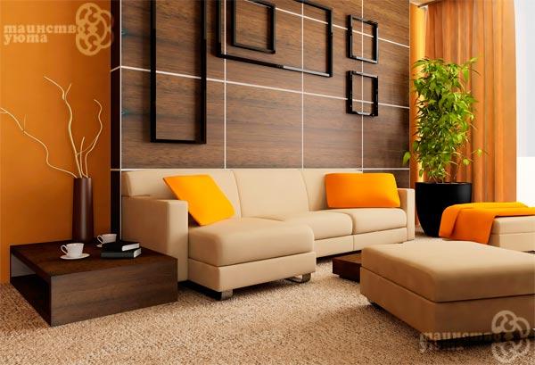 сочетание темного дерева и оранжевого цвета фото