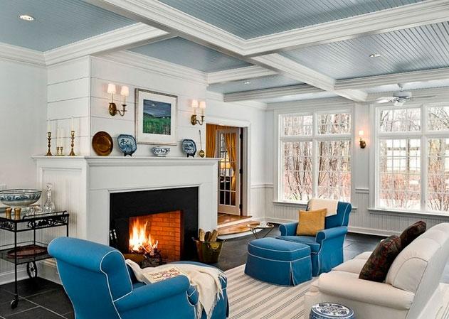 дизайн интерьера  в белом и синем цвете