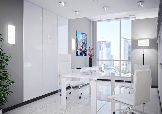 белый цвет в дизайне интерьера кабинета