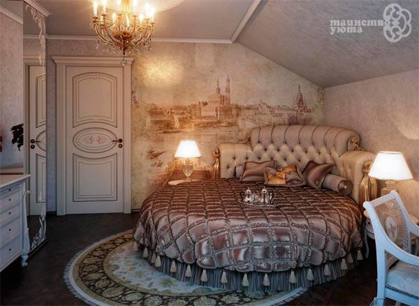 дизайн интерьера круглая кровать