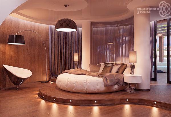 круглая кровать в современной спальне