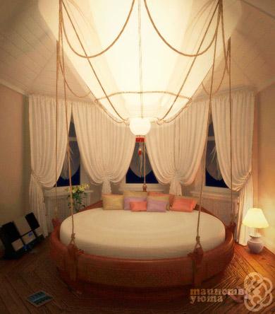оригинальная круглая кровать фото