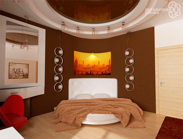 удобная круглая кровать в спальне