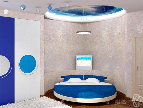 круглай кровать в дизайне спальни