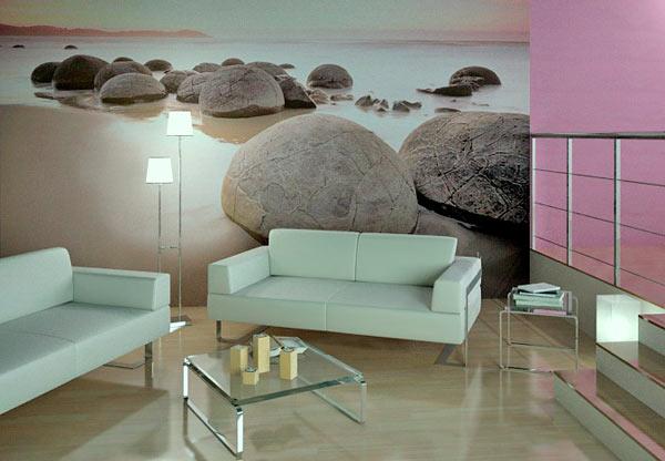 модные фотообои в дизайне гостиной