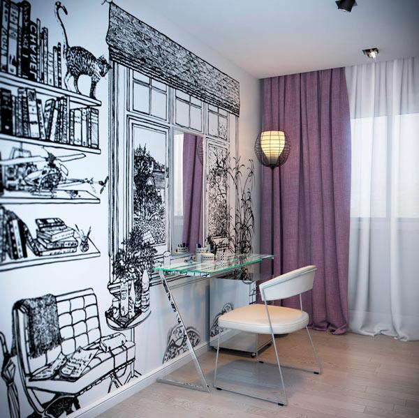 Пример оформления фотобоями спальни
