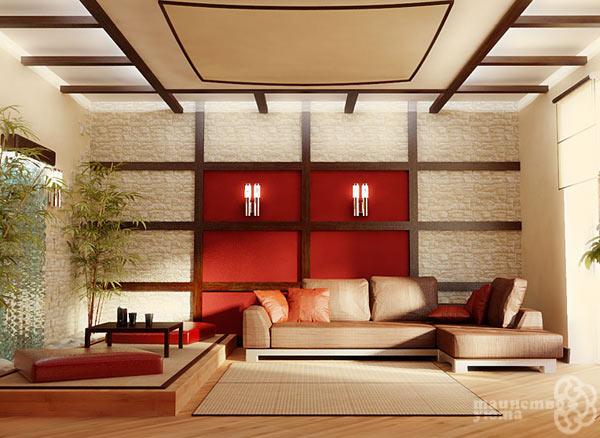 Японский минимализм в дизайне гостиной