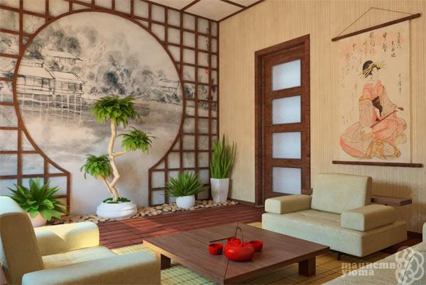 фото гостиной в японском стиле