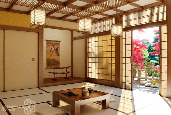 пример японского стиля в дизайне интерьра