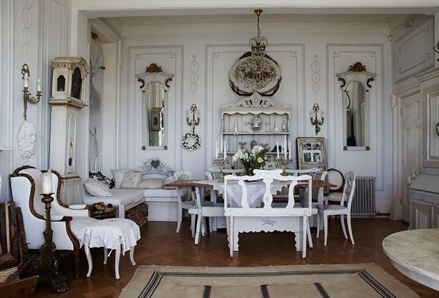винтажный дизайн интерьера в белом цвете