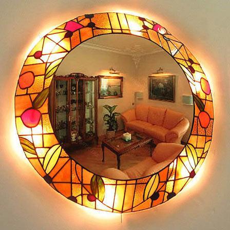 фото витражного зеркала в интерьере