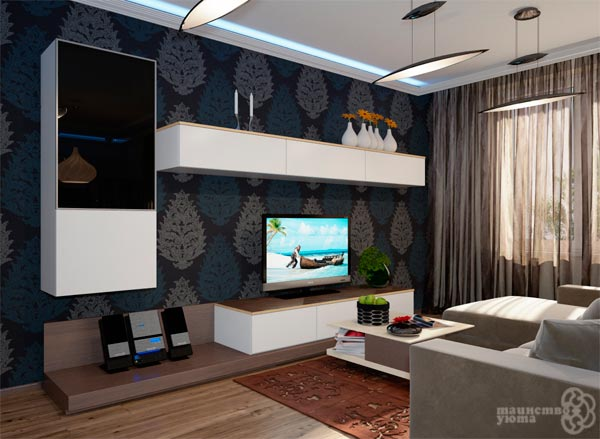 стена с телевизором в интерьере фото