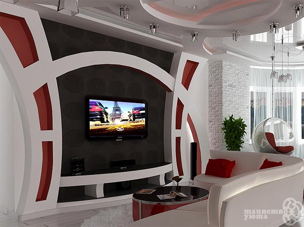 фото ригинальный дизайн зоны телевизора