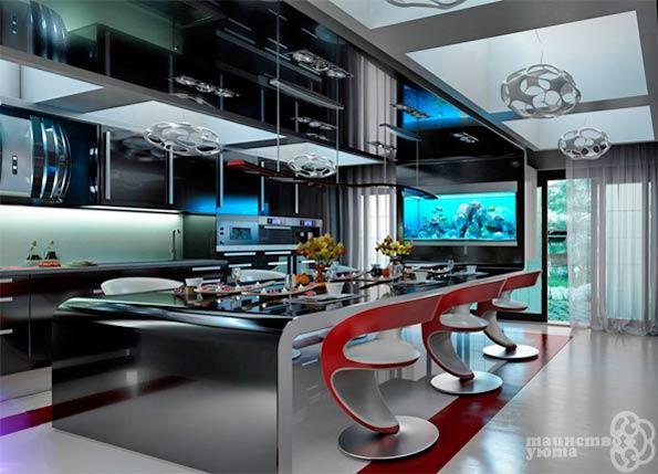 футуристический интерьер кухня
