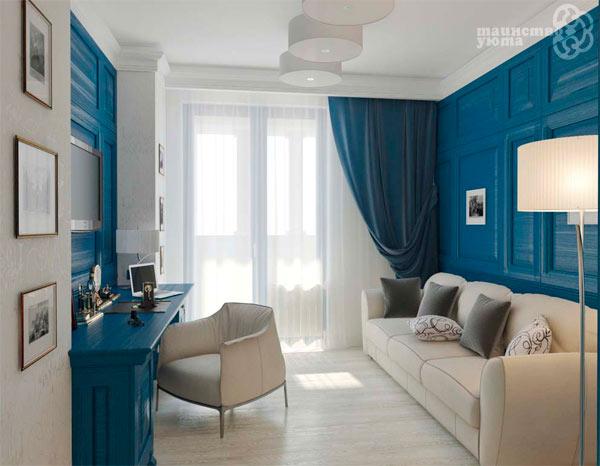 оттенки синего и белый в интерьере фото