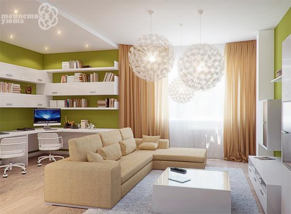 зонирование комнаты диваном