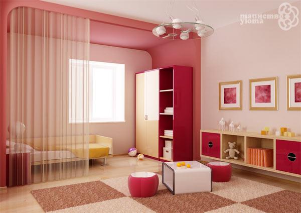 Варианты зонирования комнаты тканью