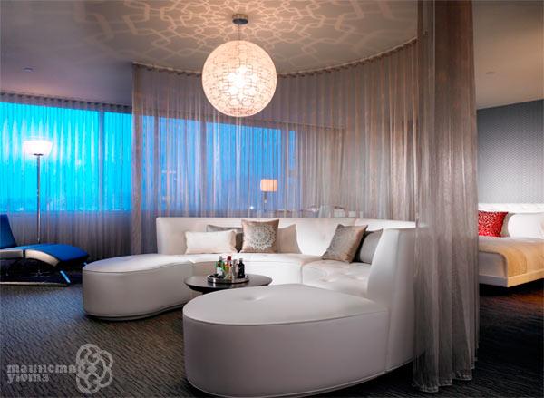 Варианта зонирования комнаты текстилем