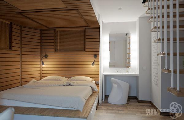 варианты зонирования комнаты отделкой
