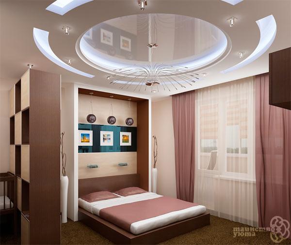 дизайн спальной комнаты с натяжным потолком