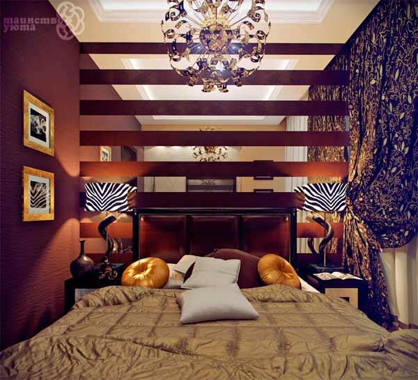 как расположить кровать в узкой комнате идеи
