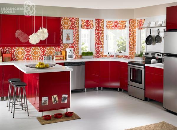 красный цвет в интерьере кухни фото