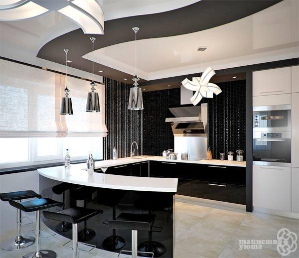 черно белая современная кухня фото