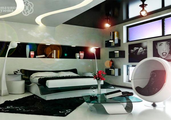 черно белый интерьер в стиле хай тек