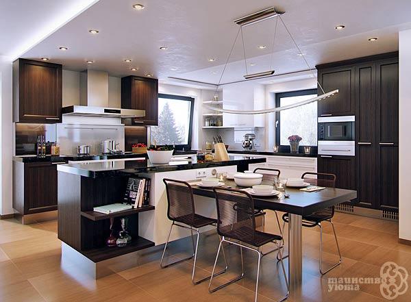 черно белый дизайн интерьера кухни