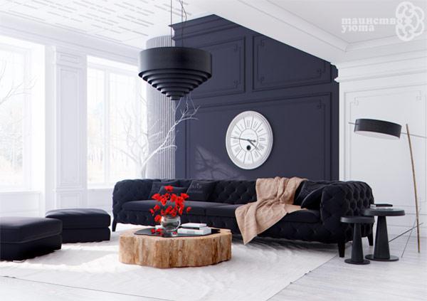 черно белый дизайн интерьера фото