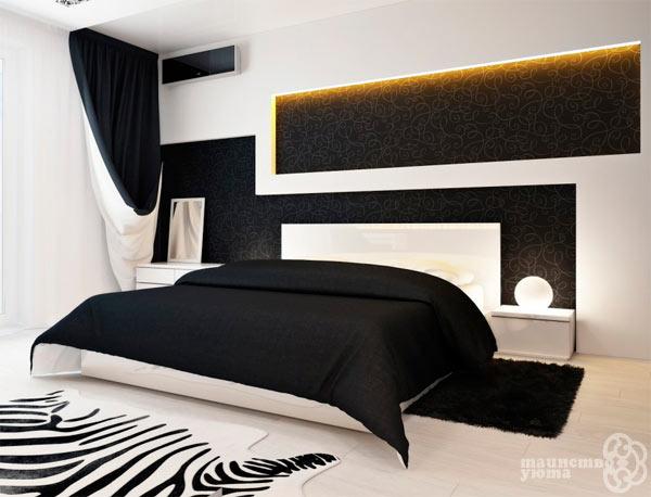 оформление спальни в черно белом цвете