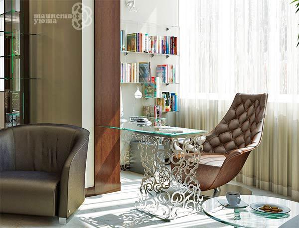 ориганальный дизайн рабочего места в гостиной