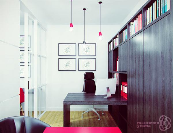 дизайн квартиры рабочий стол поперек комнаты фото