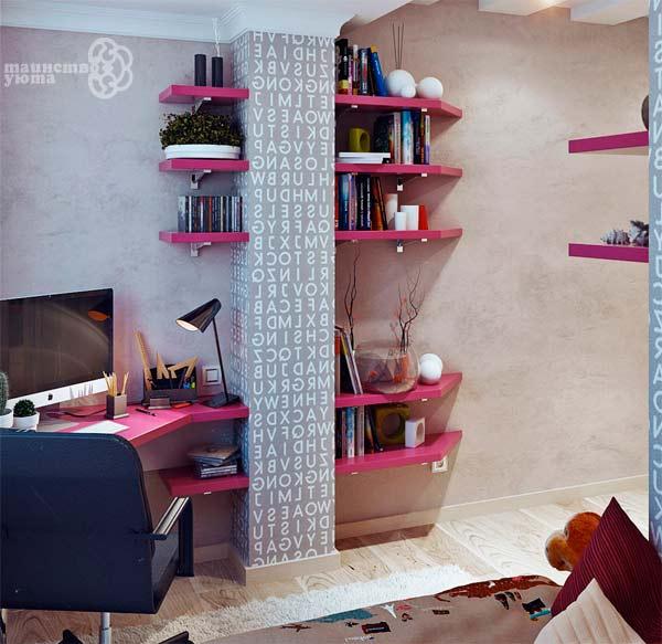 полки в дизайне рабочего места дома фото