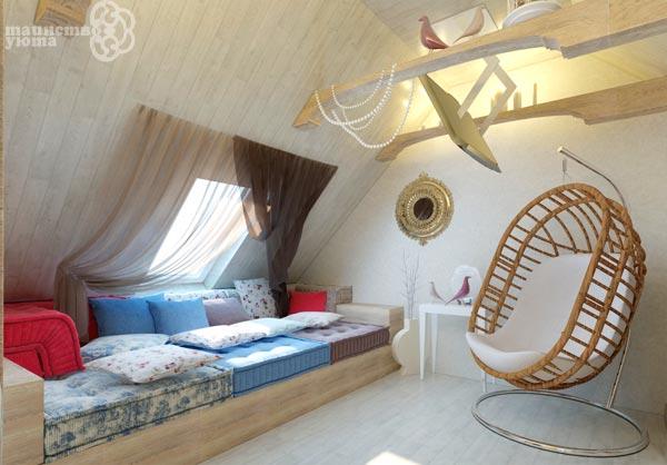 мебель для дизайна комнаты в мансарде фото