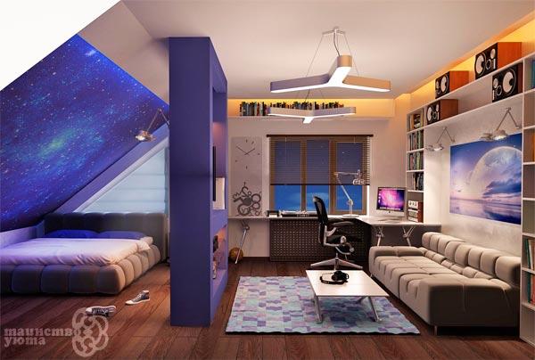 дизайн студии на мансардном этаже фото
