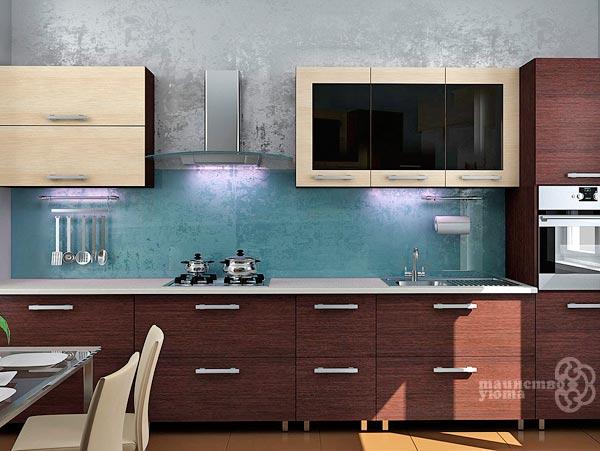 оформление стені на кухне декоративной штукатуркой