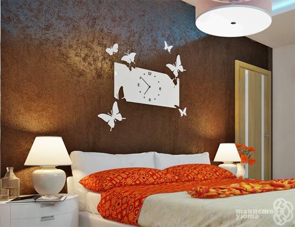 оформление изголовья кровати декоративной штукатуркой