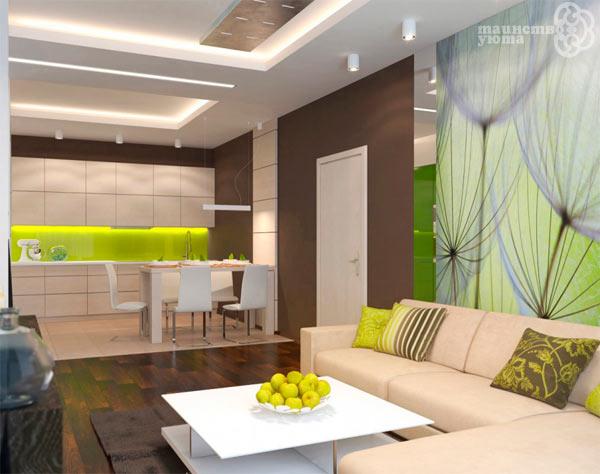 фотообои в дизайне квартиры студии