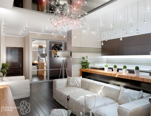 зеркала в примерах дизайна квартиры студии