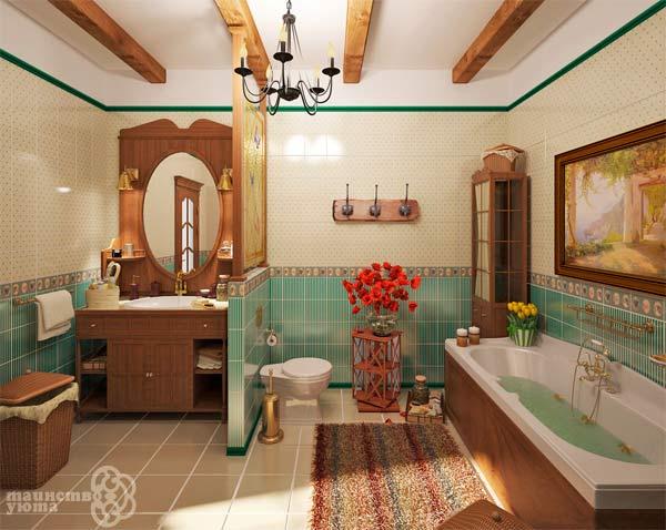 пример ванной в стиле кантри фото