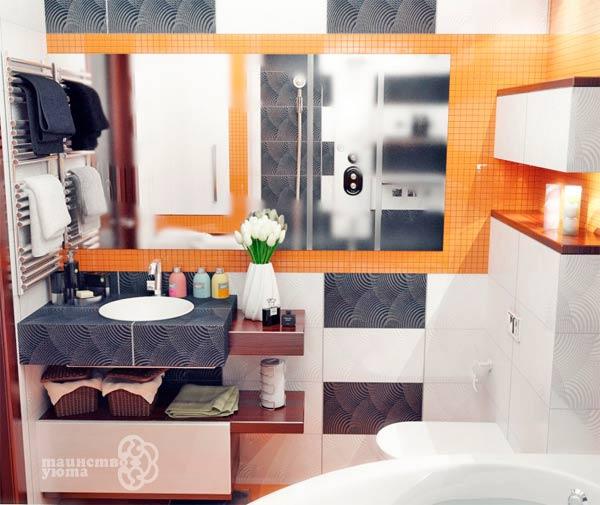 оформление умывальника в примере дизайна ванной