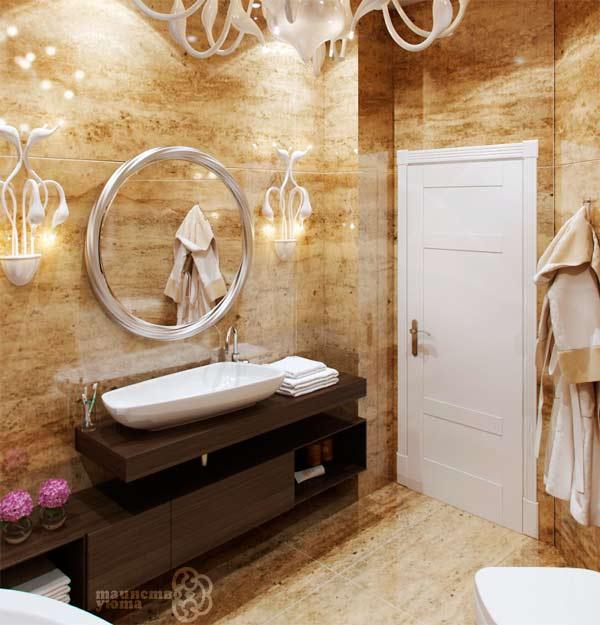 плитка под мрамор в дизайне ванной фото
