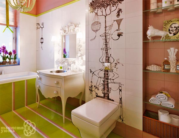виниловые наклейки в интерьере ванной фото